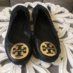 Tory Burch Black Leather Logo Flats Shoes 8.5